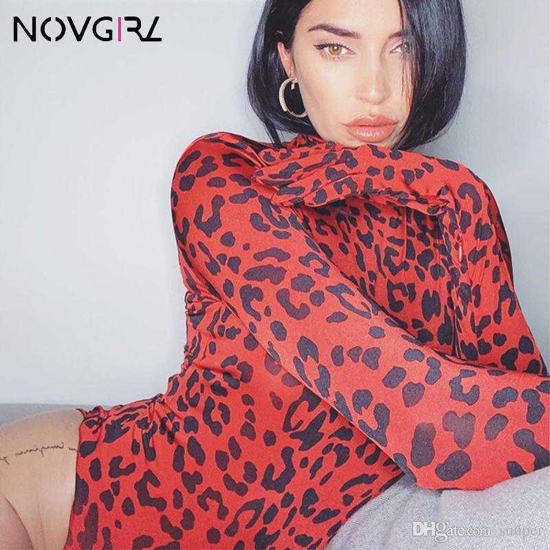 Novgirl Leopard-Druck Sexy Jumpsuit Frauen 2019 Herbst-Winter-Langarm-Handschuhe dünner Bodysuit Club Party Red Overalls