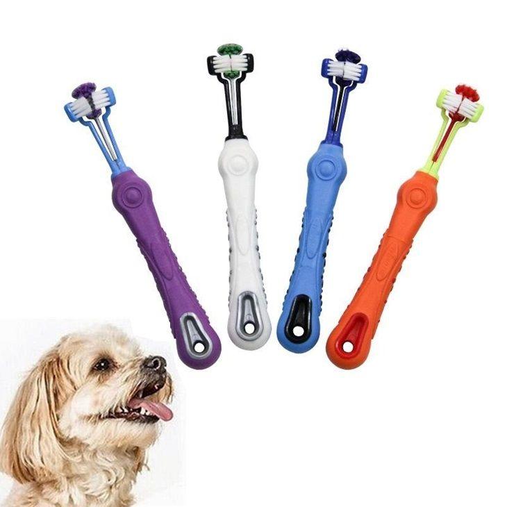 Três lados Pet Dog Escova filhote de cachorro Multi-ângulo escova de limpeza Saúde Oral cão Dental grooming frete grátis