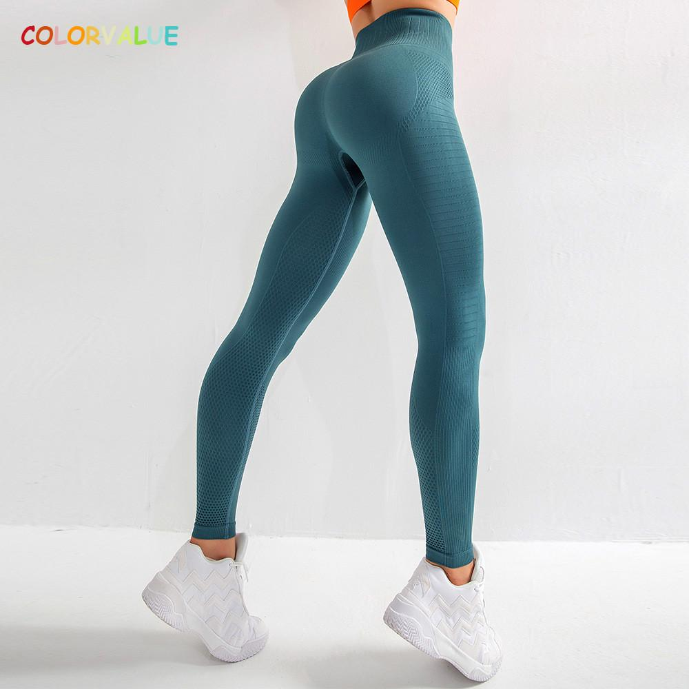 Leggings colorvalue Seamless Squatproof al Gimnasio, Medias de compresión Mujeres transpirable de talle alto entrenamiento deportivo pantalones de la yoga