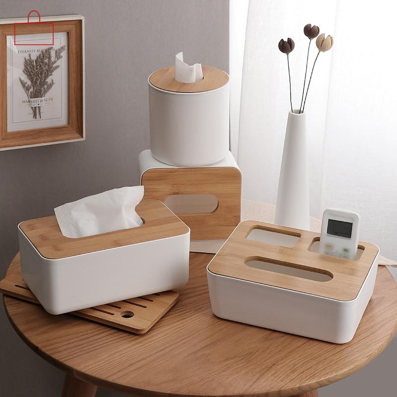 RSCHEF Home Kitchen Wooden Plastic Tissue Box Solid Wood Napkin Holder Case Simple Stylish Bamboo cover Hotel storage box