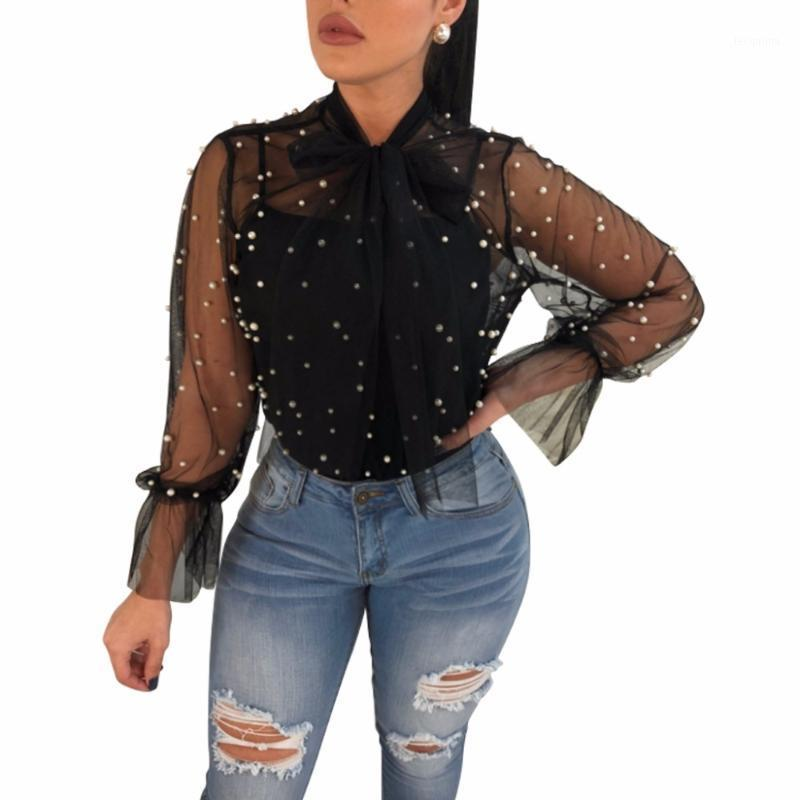 Women's Blouses & Shirts Sheer Mesh Pearls Women Sexy Crop Tops Bow Tie Long Sleeve Summer Beach Cover Up Ladies Blouses1