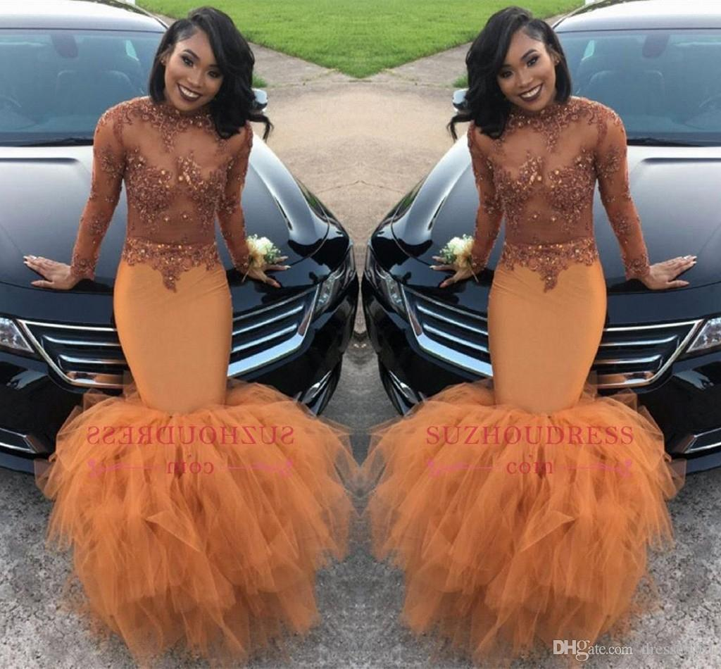 Dusty Orange Mermaid Prom Dresses Illusion Long Sleeve Sequins Beads Appliques Tulle Ruffle Evening Gown Women Formal Party Gown BA8084