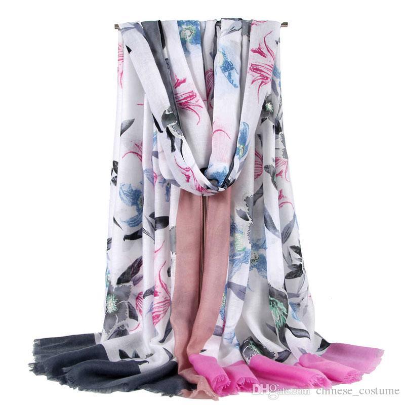 De alta qualidade das mulheres de algodão e de seda longo cachecol cachecol xale envolto lírio flor padrão lenço de cetim impressão primavera verão outono e inverno