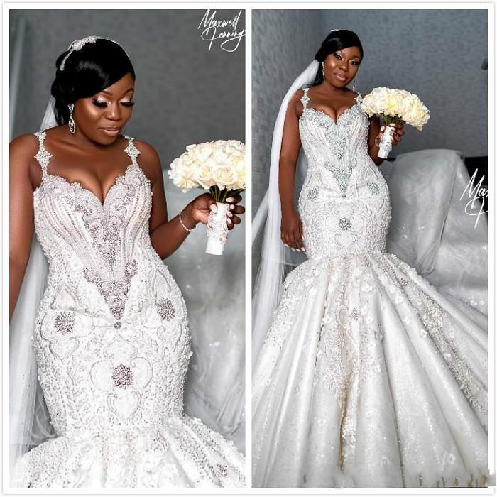 2020 Arabic Plus Size Mermaid Wedding Dresses Luxury Crystals Beaded Sexy Lace Bridal Dress Vintage Wedding Gowns Custom Made