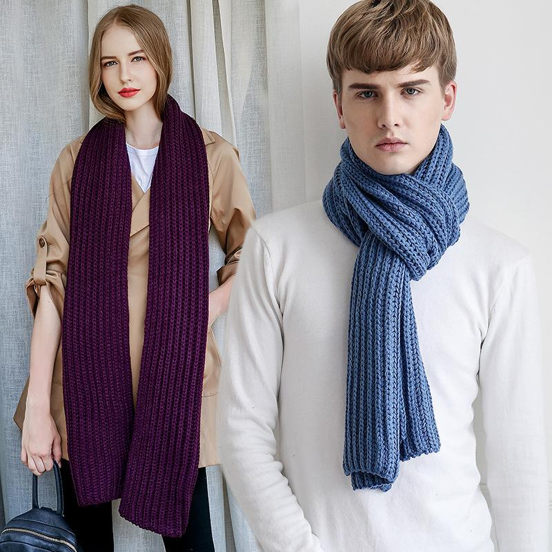 2017 Winter Spring Autumn Women Knitted Scarf Men Kintted Wool Ladies Kint Scarves Girls Neck Scarf Solid Female Scarfs