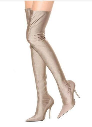 Vente chaude-Sexy Rose Violet Noir Talons Hauts Sur Le Genou En Satin Femmes Bottes Stretchy Chaussette Chaussettes Cuisse Bottes Élevées Stilettos