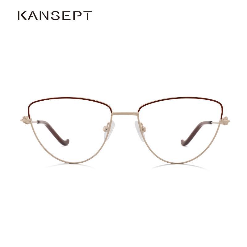 Kansept metal Mulheres Prescrição óculos de armação Marca Designer Cat Eye Miopia Optical Eye Glasses Quadro # KL8366