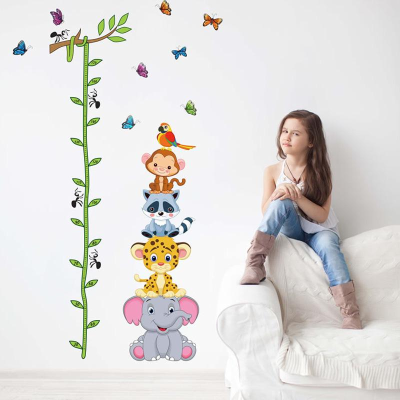 Removable wall sticker cartoon animal Rohan height sticker children's room background wall sticker creative self-sticker