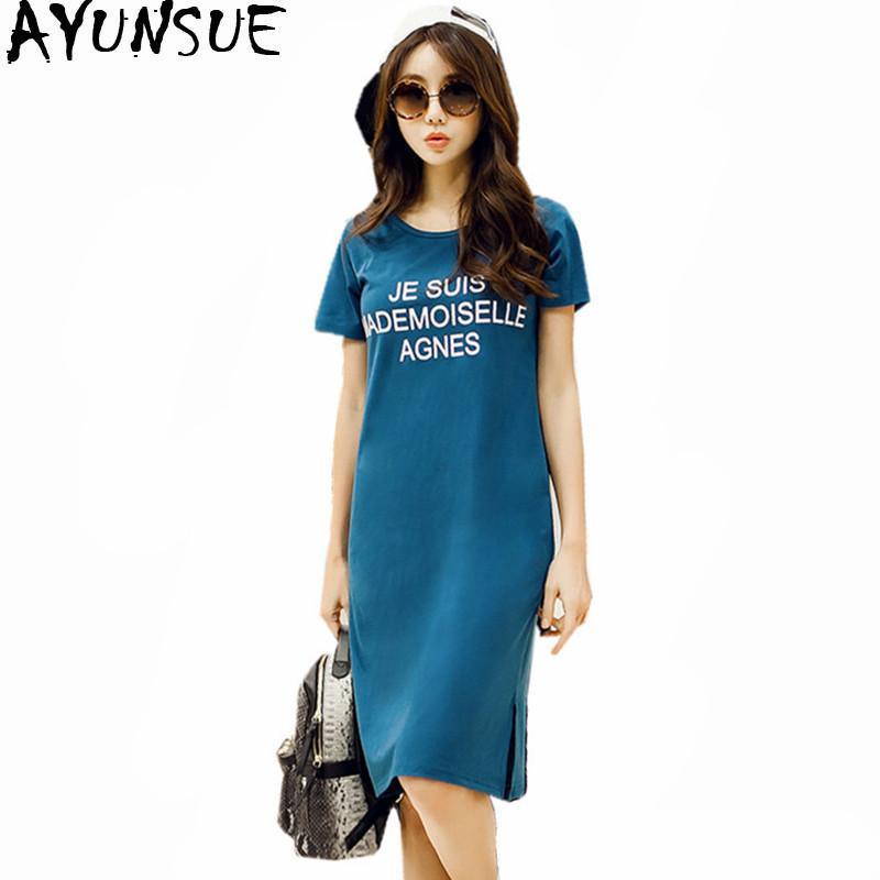 Ayunsue 2019 Yaz T-shirt Kadın Kore Uzun Üst Çaylar Pamuk T-shirt Casual Elbise Kadın Şort Artı Boyutu 5xl 6xl Wxf694 Y19071001
