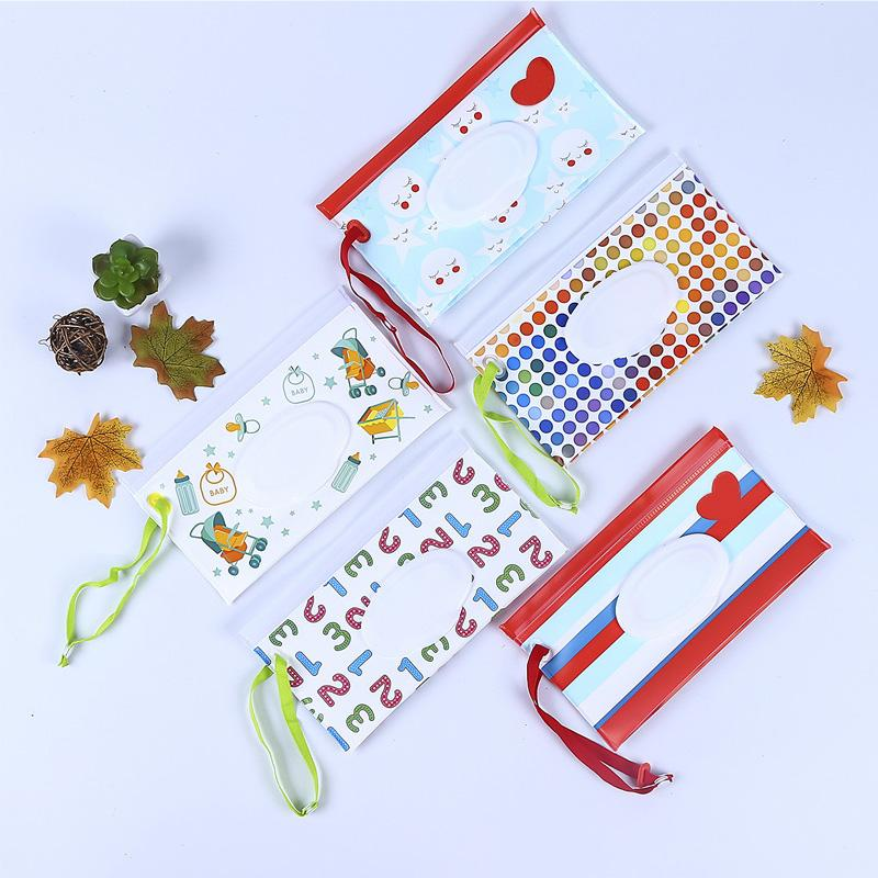 Cartoon Print Baby Wet Wipes Bag Reusable Wet Wipes Cover Container For Wet Wipes Baby Skin Care Travel Bag