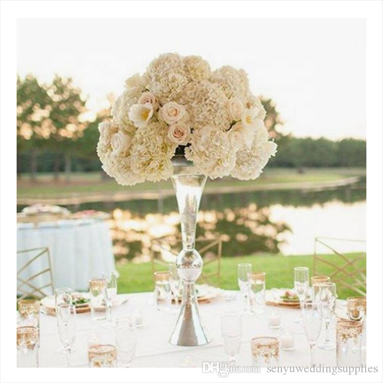 Wedding occassion acrylic crystal floral stand geometric road lead electroplate square flower stand senyu0003