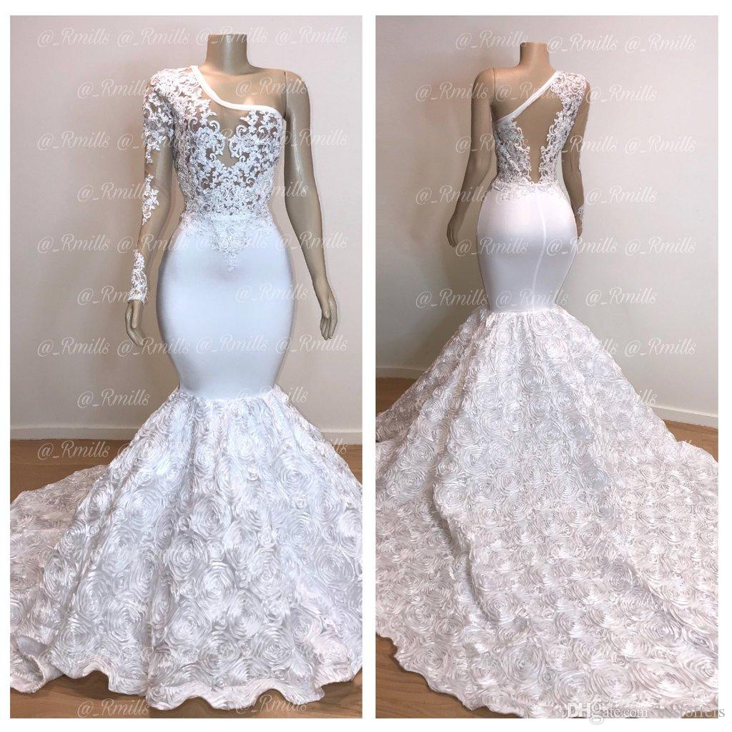 Lusso Vedere attraverso il bianco della sirena Prom Dresses 2020 una spalla pura pizzo applique maniche lunghe 3D Floreale, gli abiti di sera BC0963