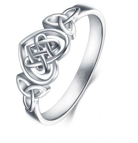 Celtic Knot Wedding Bands.925 Silver Ring Celtic Knot Heart Love High Polish Tarnish Resistant Eternity Wedding Band Stackable Ring Gifts For Wedding Guests Gifts For Wedding