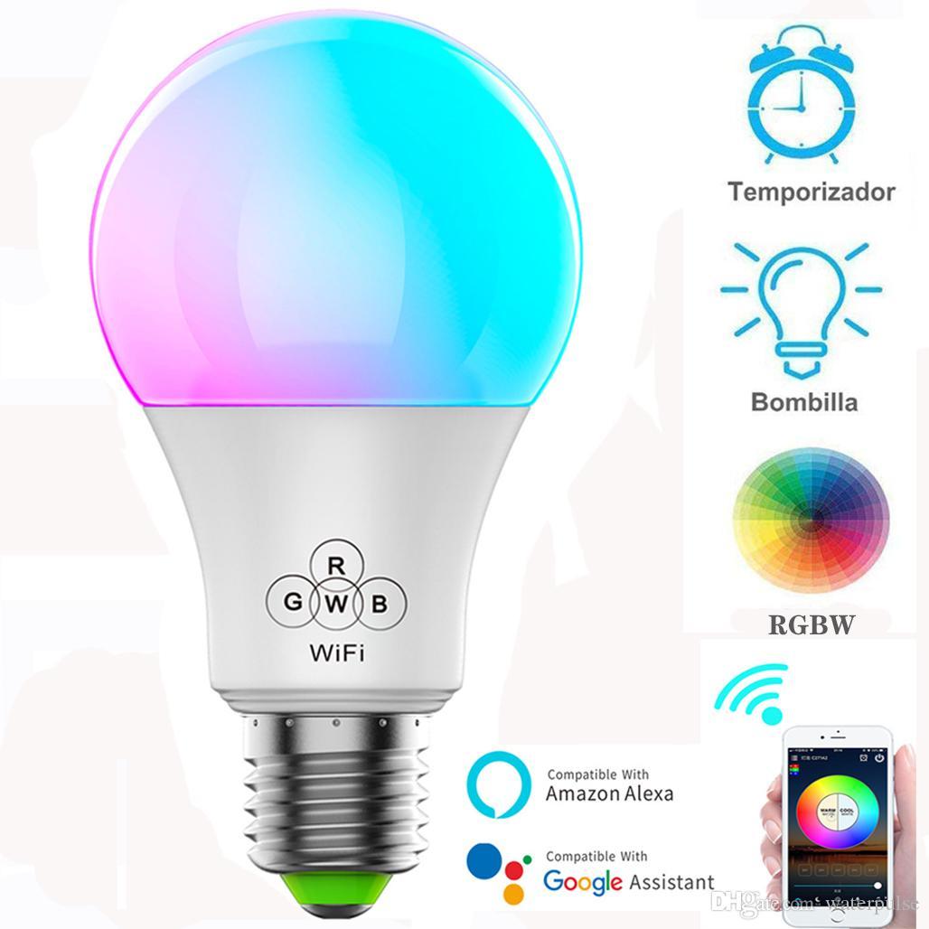 무선 스마트 와이파이 전구 LED 램프 7W RGB E27 웨이크 업 따뜻한 조명 작품 알렉사 Google 홈 조명 1PCS와