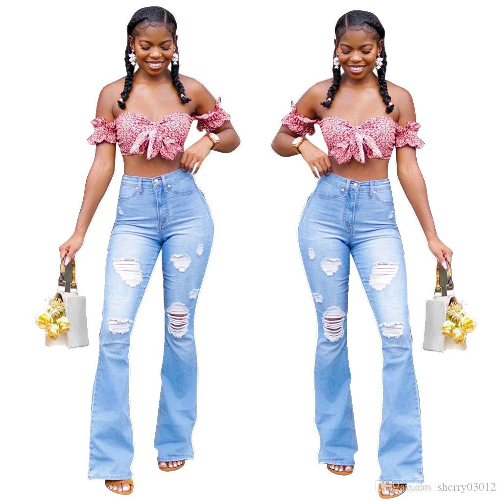 HISIMPLE Frauen Herbst-Winter-hohe Taillen-Blau Weibliche Flare zerrissene Jeans-Wide Leg Plus Size Ausgestelltes Denim-Hosen-dünne Jeans