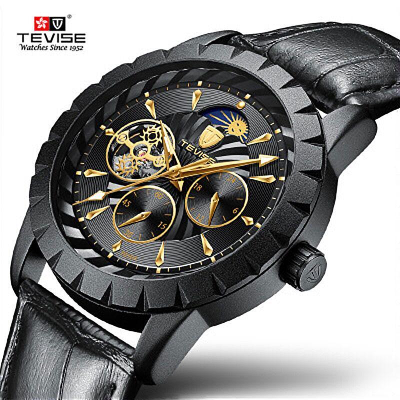 TEVISE Luxury Hommes Regarder une montre mécanique automatique Strap en cuir lune Phase Tourbillon Luminous Luminous Wetwatch Relogio Masculino