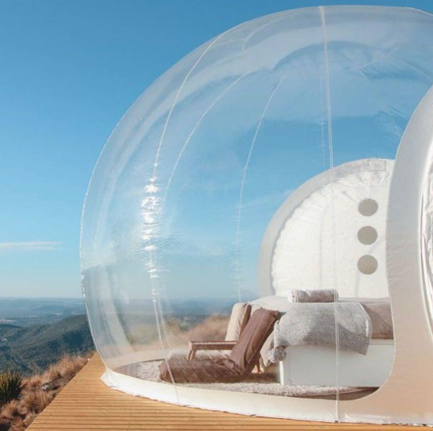 واضحة خيمة فقاعة قابلة للنفخ مع نفق FOR SALE الصين الصانع، نفخ الخيام للمعارض، ونفخ حديقة خيمة