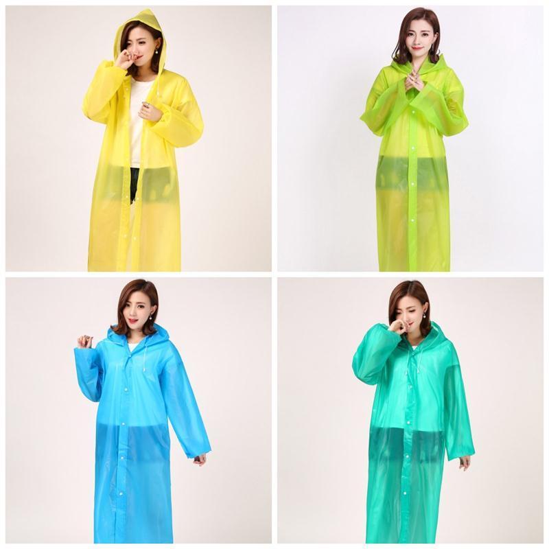 Loose Hood Raincoat With Button Transparent Plastic EVA Waterproof Unisex Poncho Rainwear Breathable Travel Rain Coat High Quality 4 7yt E19