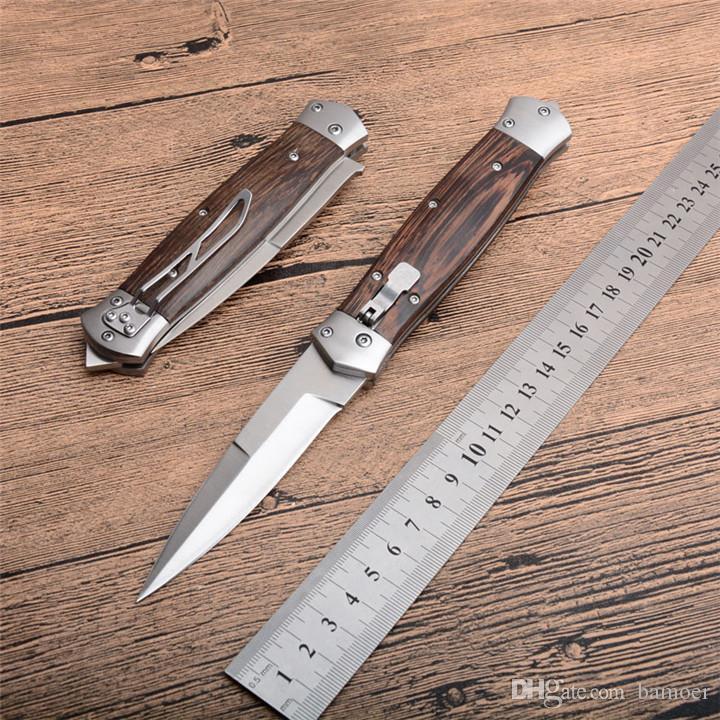 New Horizontal Automatic Tactical Folding Knife 8Cr13 Satin Blade Wood Handle Outdoor EDC Pocket Knives With Nylon Sheath
