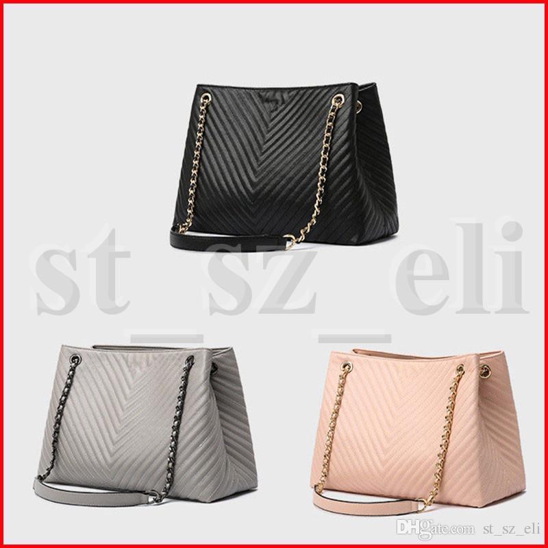 Kadınlar PU Kozmetik çanta Altın Gümüş Zincirler Tek Omuz Çantası Lady Makyaj çantası Saklama Poşetleri Pembe Siyah Gri 3 Renkler Yukarı Bag olun