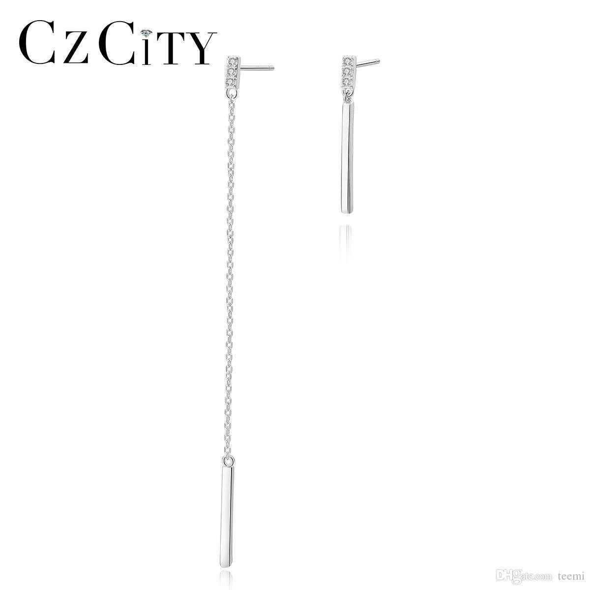 CZCITY New Unique 925 Sterling Silver Tassel Drop Earrings for Women Elegant Chain Fine Prom Jewelry Bijoux Christmas Gifts