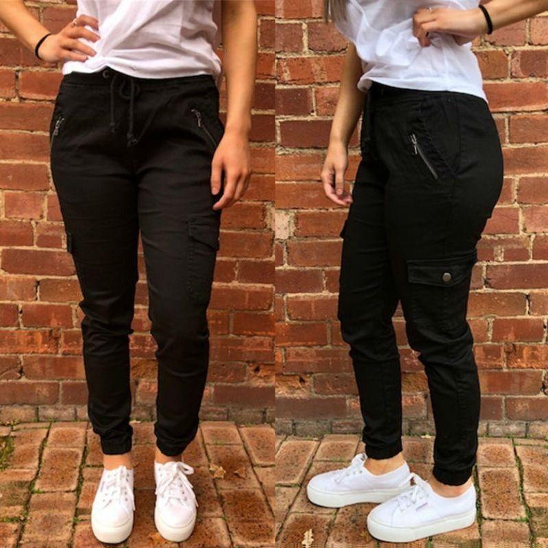 Saf Aşınma Kadın Renk Kolay Fermuar Boş Zaman Pantolon Om8805
