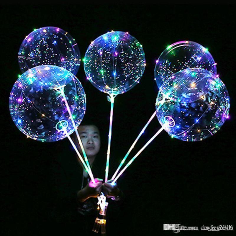Aydınlık LED Balonlar Şeffaf şeffaf BoBo Balon 18 inç Işık Doğum Günü Düğün Noel Partisi için Renkli Dalga Helyum Topu Dekoratif