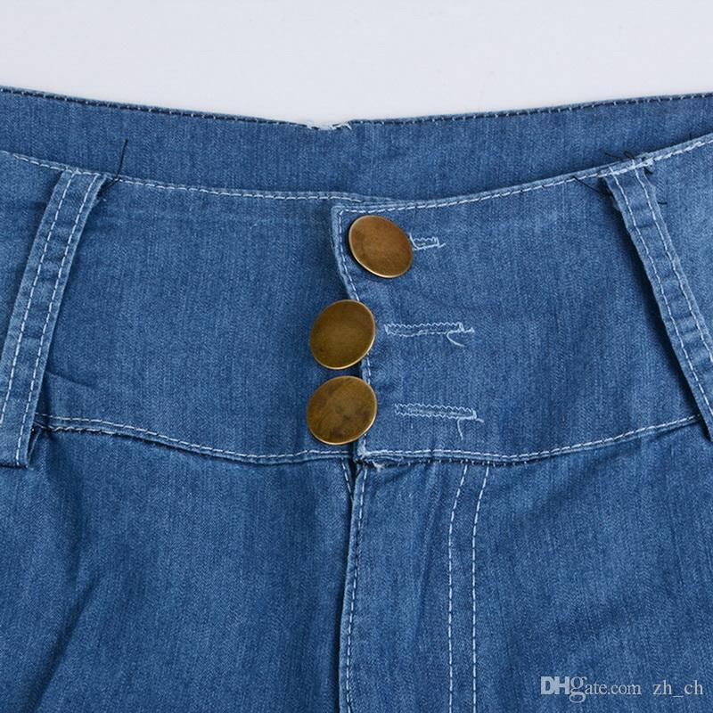 Großhandel WENYUJH 2019 Frauen Stretch Hohe Taille Dünne Stickerei Jeans Blumendruck Denim Hosen Hosen Frauen Bleistift Hose Plus Größe 5XL Von Zh_ch,