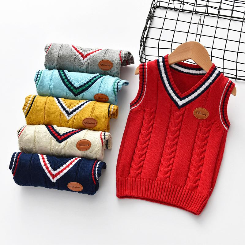 Baby Little Girls & Boys 100% Cotton V-Neck Sleeveless Knit Vest Sweaters for Winter Casual Cloth