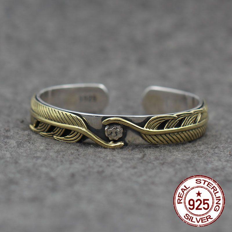 Sterling Silver Open Bangle personalizzato retrò moda indiana in ottone stile piuma high-end scolpito braccialetto semplice per inviare un regalo