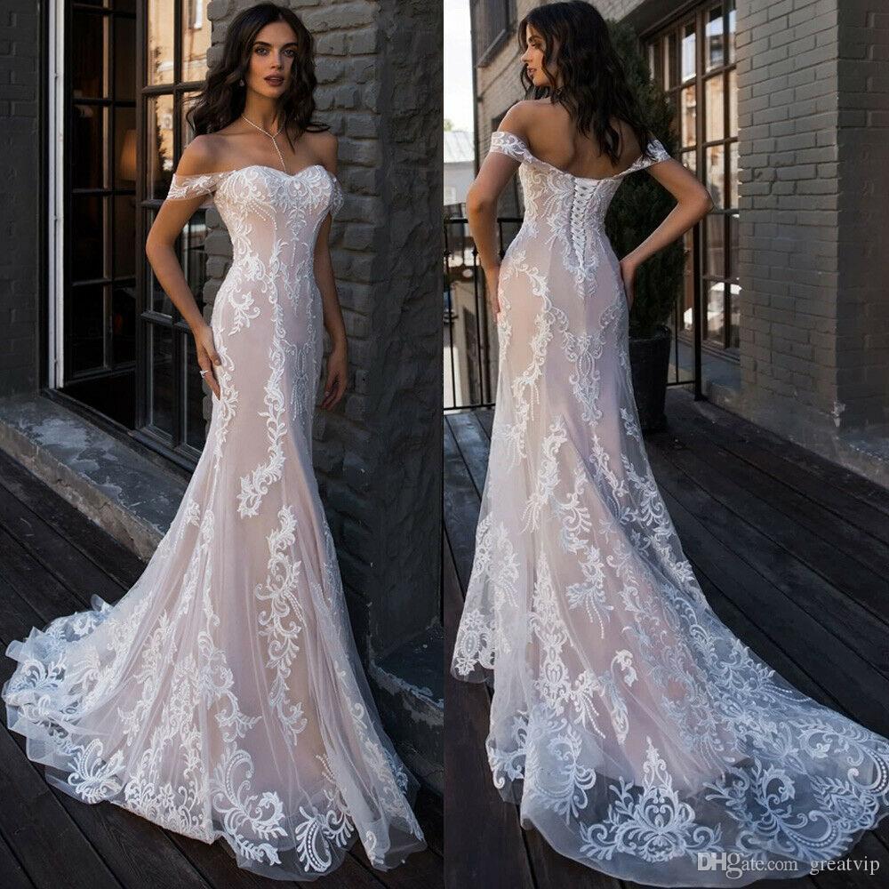 Vestidos de novia de sirena sexy fuera del hombro Ilusión de encaje apliques vestidos de novia trenes de barrido vestido de novia de tul