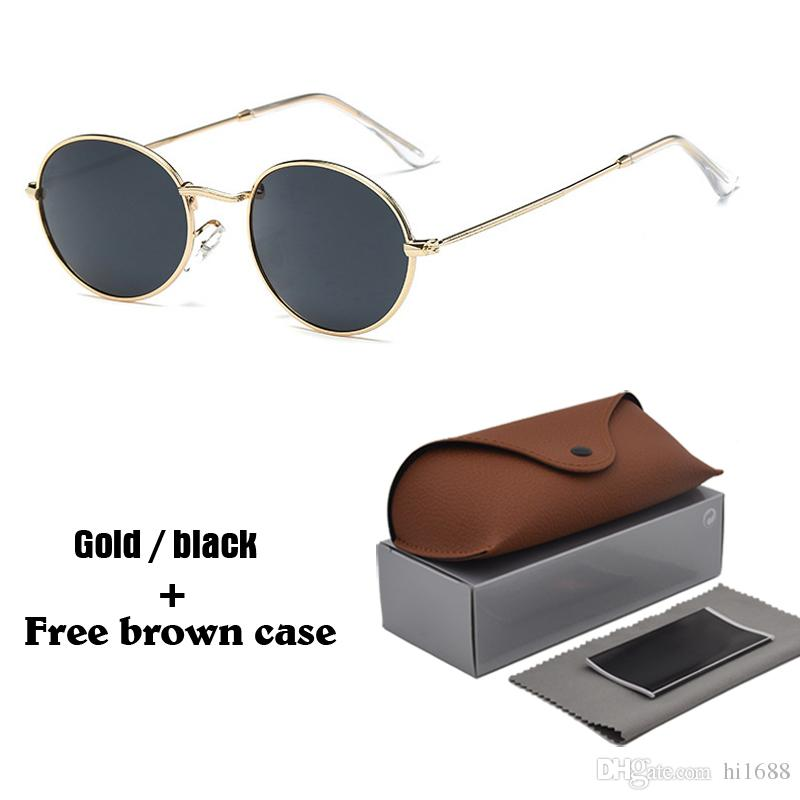 Clássico Oval Óculos De Sol Dos Homens Das Mulheres Designer de Marca Frame Da Liga Do Vintage Eyewear Unisex Óculos de Sol de Condução com casos e caixa livre