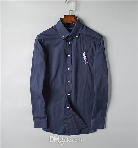최고 품질 패션 디자이너 RL 레이싱 폴로 브랜드 캐주얼 셔츠 # 002 US 오프 럭셔리 남성 긴 소매 자수 화이트 셔츠 드레스 옷깃 티