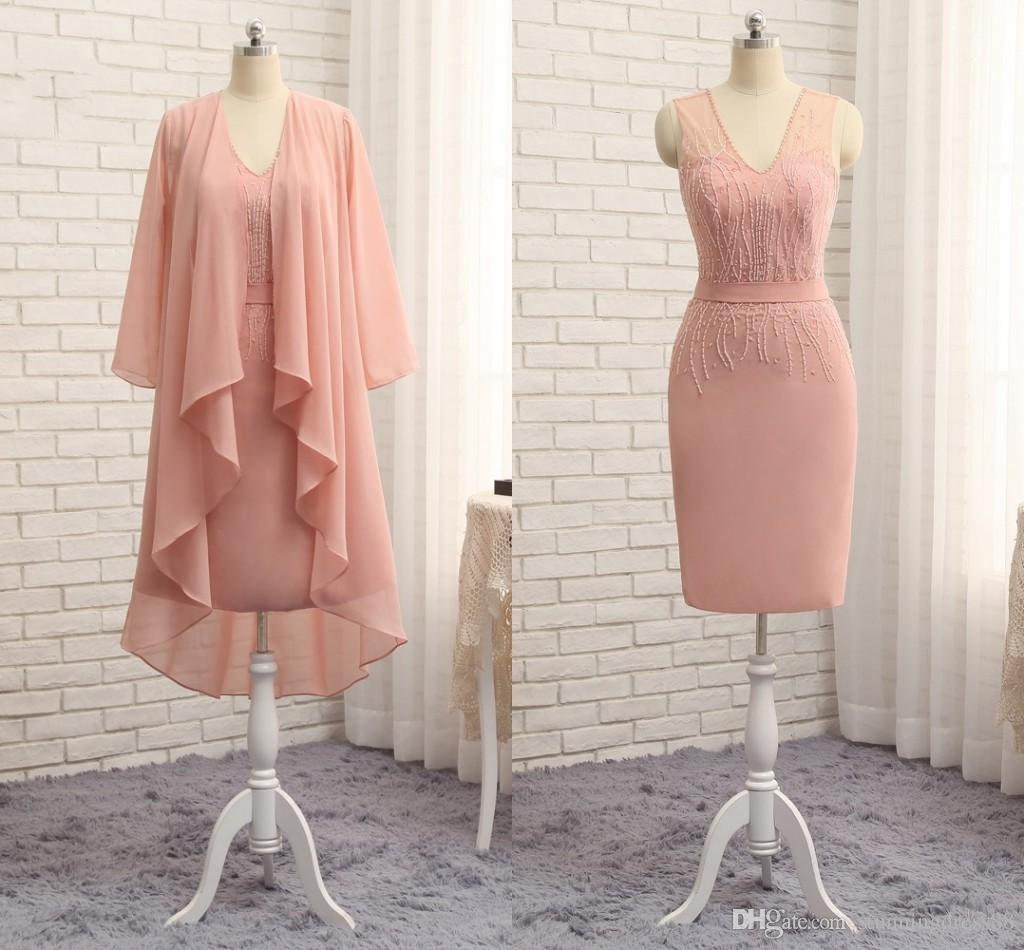Beautiful Pink Knee Length Mother of the Bride Groom Dresses V neck Sheer Straps Backless Chiffon Beaded Short Evening Prom dress Gowns