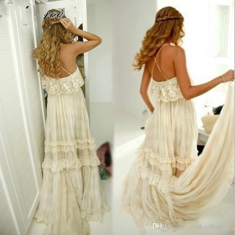 2020 Vintage Hippie Style Strapless Boho Beach Wedding Dresses Sexy Spaghetti Straps Tiered Lace Chiffon A Line Gybsy Bridal Gowns