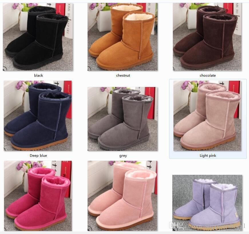 venta caliente del bebé de la nieve Botas Zapatos de Niños y Niñas Australia estilo de los niños del bebé de la nieve botas de agua Slip-en botas de cuero invierno de los niños Marca