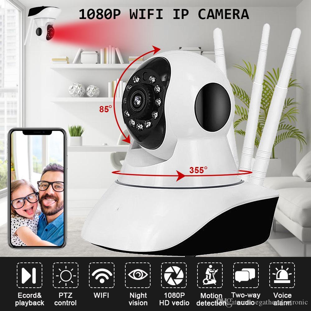 HD 1080 P Câmera IP Sem Fio Wi-fi Câmera de Visão Noturna WIFI Web Cam P2P Onvif Pan / Tilt Em Dois Sentidos de Áudio Micro SD Slot