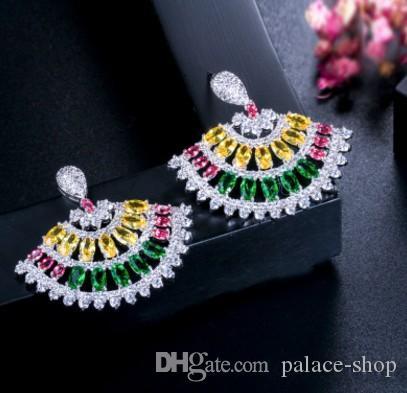 envío gratis noble diamante Cristal Popular joyería colorido 925 plata dama aretes 37r