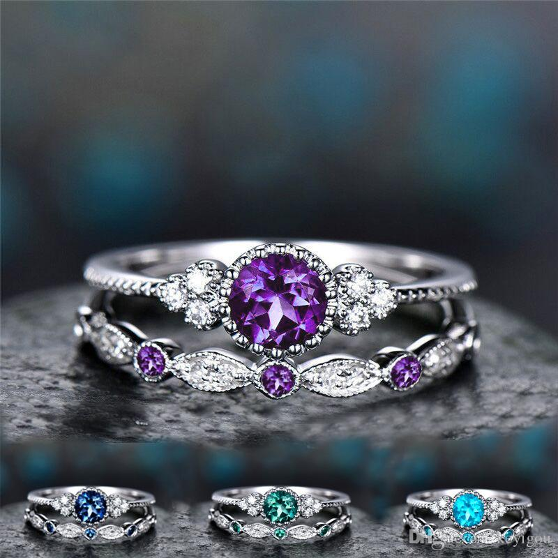2Pcs/Set 2020 Green Blue Stone Crystal Rings For Women Sliver Color Wedding Engagement Rings Jewelry Dropship bagues pour