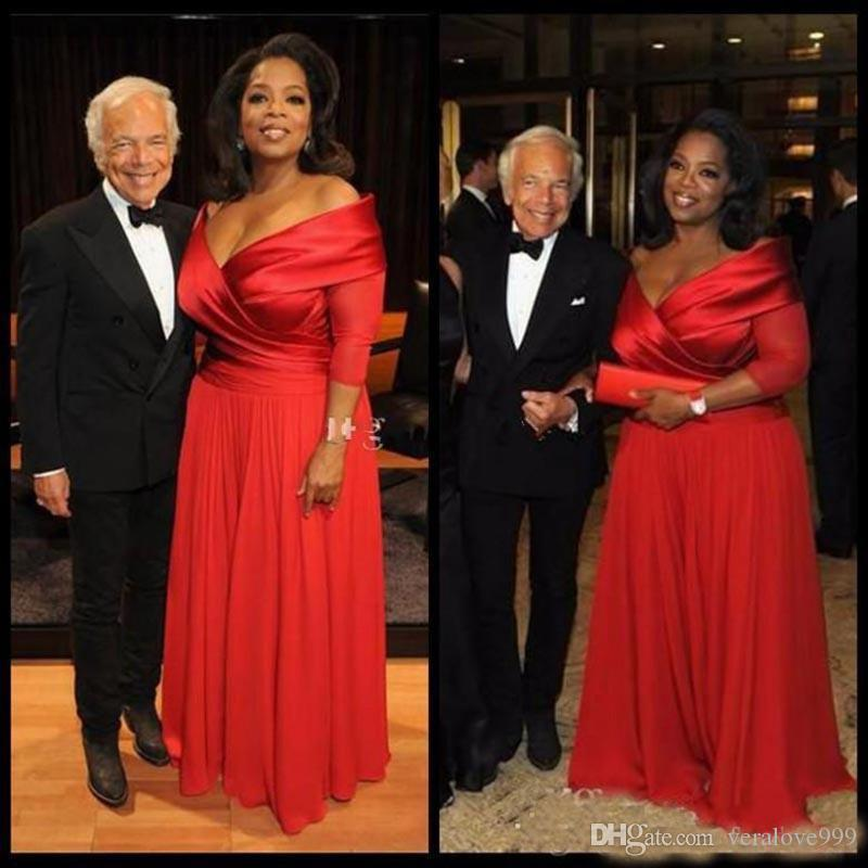 2019 Oprah Winfrey Off Shoulder Plus Size Evening Dresses 3/4 Long Sleeve Ruched Red Chiffon Prom Dress Cheap Mother of Bride Dresses
