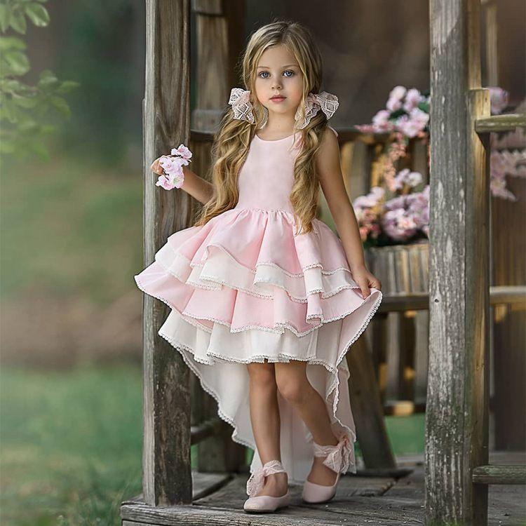 الصيف الرباط المرقعة فتاة الوردي اللباس عارية الذراعين 2020 بنات في سن المراهقة الأميرة اللباس غير النظامية سهرة 1-8 سنوات الأطفال بلا أكمام الملابس
