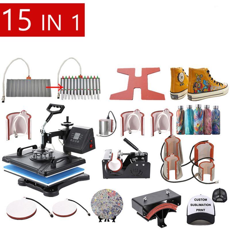 Envío gratuito Doble Pantalla 15 en 1 Combo Sublimación Máquina de prensa de calor T Shirt Máquina de transferencia de calor para personalizar camiseta / llavero / pluma