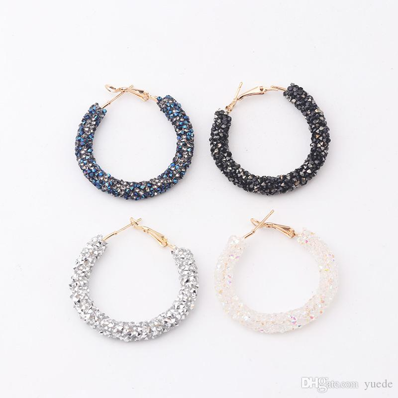 Fashion jewelry versatile hiphop alloy inlay cz earrings crystal from Swarovski circle handmade beaded fit Pandora earrings