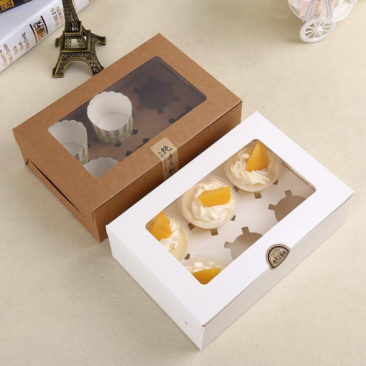 Kraft Karten-Papier-Kuchen-Box 6-Schalen-Kuchen-Halter-Muffin-Kuchen-Kästen Dessert Tragbarer Paket-Kasten Sechs Fach Geschenk Favor LX1784
