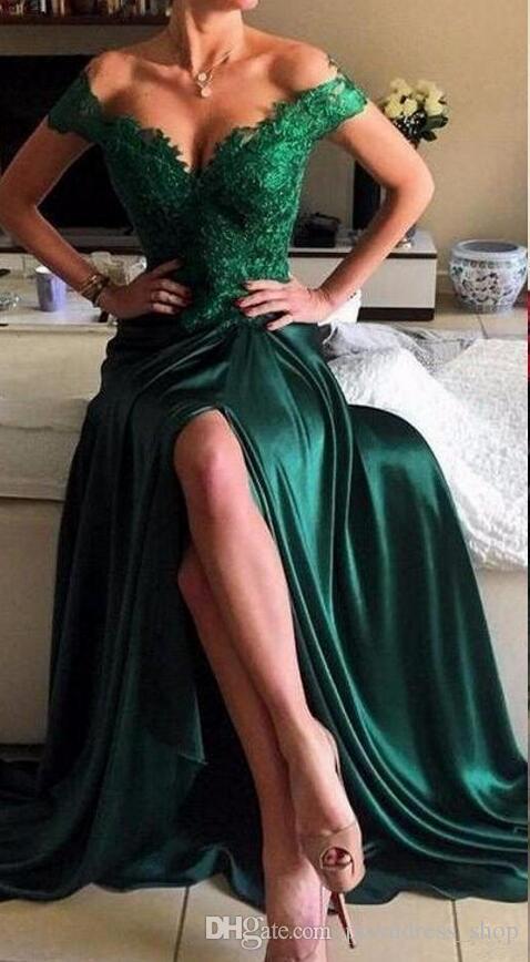 2021 Emerald Green Prom Dresses High Quality Bright Girls Off Shoulder Women Long Formal Evening Party Gowns Plus Size Vestidos De Festa