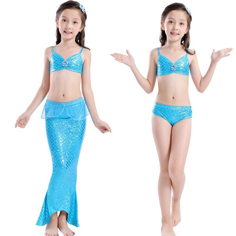Beautiful Children's Swimsuit Girls Mermaid Swimwear For Kids Bikini Bathing Suit 3pcs/set Swimsuit For Girls Three Pieces Bikini Mermaid