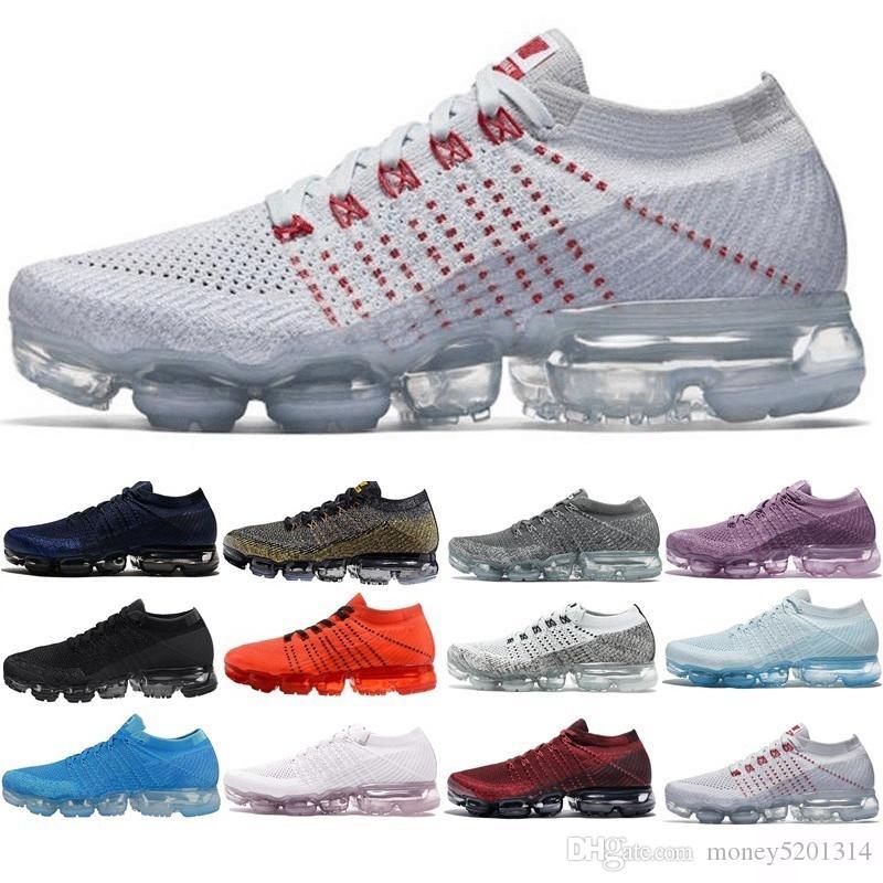 Nike Air Vapormax flyknit 1.0 2.0 Avec Box 2018 chaussures de course de course tissage Ourdoor concepteur Athletic Sporting Chaussures de marche pour les femmes