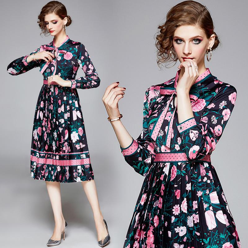 2020 Luxury Runway Floral Designer Dress Women Long Sleeve Party Prom Bow Ladies Button Shirt Dress Elegant Printed Office Pleated Dresses