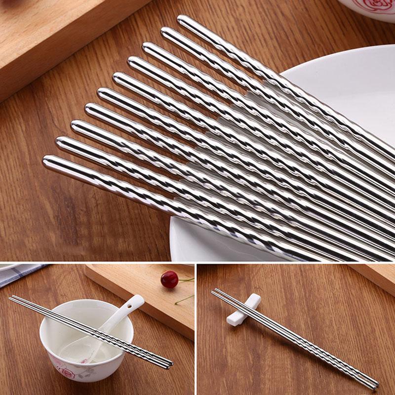 Acero inoxidable Par comida china Palillos 2Pcs / palillos contra saltos de hilo Estilo portátil palillos vajilla de cocina BH2794 TQQ