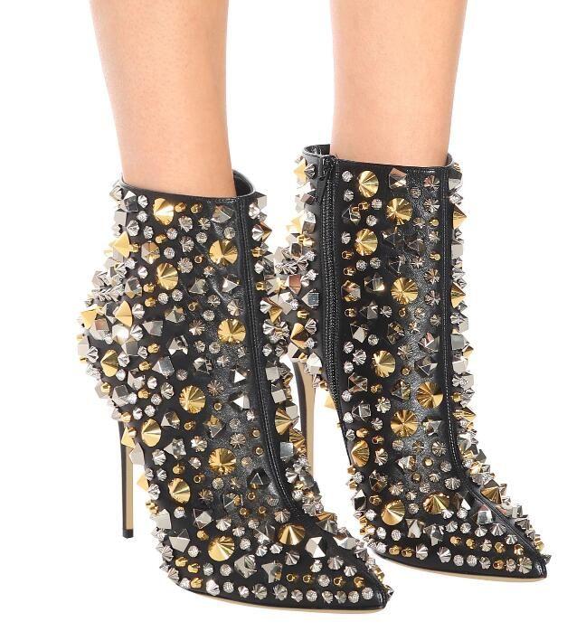 2019 yeni kadın nokta toe çizmeler moda ayak bileği patik parti ayakkabı başak saplama çizmeler ince topuk martin çizme boncuk mujer botas kırmızı alt